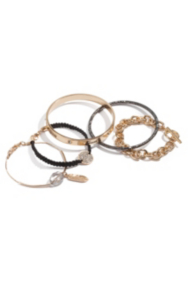 Gold-Tone and Black Arm Party Bracelet Set
