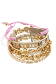 Gold-Tone and Pink Arm Party Bracelet Set