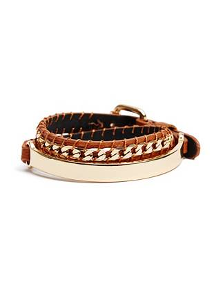 Brown and Gold-Tone Thin Wrap Bracelet