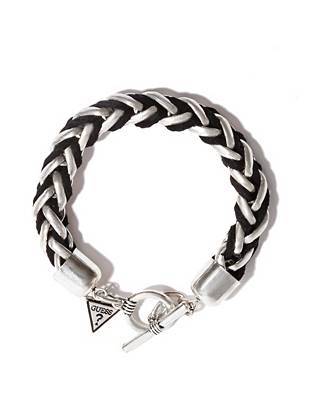 Sleek and rugged, this braided bracelet is the perfect off-duty accent. The antique-effect finish delivers vintage-inspired appeal, while the leather detail gives it a modern touch.