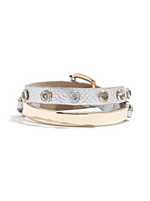 Half ID bracelet, half wrap bracelet, this tough-luxe accessory is the best of both worlds. Sparkling rhinestones add eye-catching glamour to the trend-driven design.