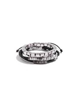 """Add a standout accent that still blends right in with your everyday look: this bracelet set is sure to do the trick. Wear 'em everywhere for a masculine accent that shows your style. •Set of three bracelets •One black cord with silver-tone beads. One braided with square silver-tone beads. One stretch with silver-tone beads. •Adjustable/stretch fit •Approximately 3"""" diameter"""