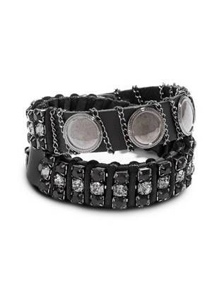 Striking rhinestones and luxe chains bring rebellious glamour to this leather wrap bracelet. Pair it with your everyday looks for just the right amount of edge—you won't want to take it off.