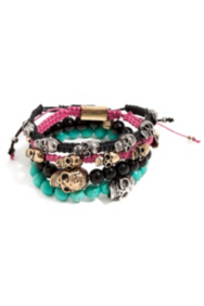 Multicolor Beaded and Woven Skull Bracelet Set