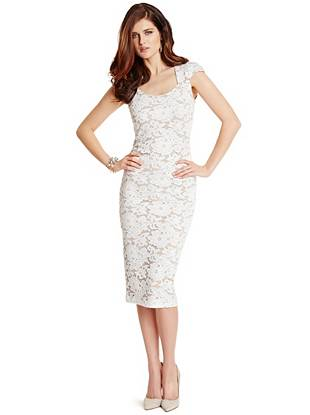 Be the best dressed at Sunday brunch in this luxurious lace pencil dress. The open-knit construction is offset by barely-there nude lining, creating a look that's the perfect mix of sexy and sophisticated.