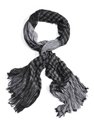 """Distinctive woven details and frayed edges make this striped scarf a need-now accent for every style-conscious guy. Wear it over your favorite tee in the summer, or pair it with a sweater in the cooler months for laid-back appeal year 'round.      • Crinkled scarf with striped pattern, loose woven details and frayed edges • 77""""L x 26""""W • 100% Polyester • Dry clean"""