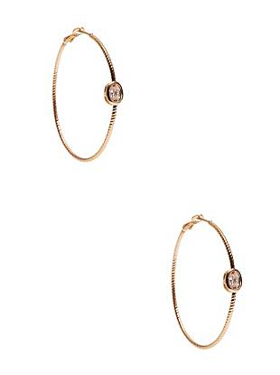 A modern upgrade to the traditional hoop, this pair exudes trend-focused glamour. A textured gold-tone detail, rhinestones and a distinctive-yet-simple design team up to create the ultimate go-to accessory!