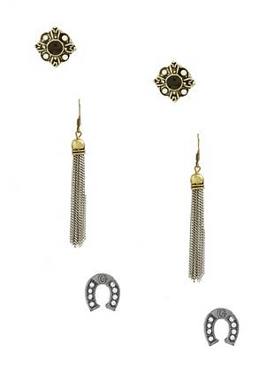 Vintage-inspired yet totally on trend, this earrings set has a pair for every occasion. Wear the flower or horseshoe studs during the day, then slip on the fringe pair after dark for most-wanted retro appeal.