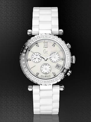 The beauty of fine diamonds surrounds this watch style with undisputed allure and elegance. The bezel features 36 genuine pave-set diamonds and 6 diamond indicies on the dial; total carat weight of 0.50cts. The white mother-of-pearl dial features a precision Swiss chronograph movement with date.  The case is complimented by a full high-tech white ceramic bracelet with integrated Gc deployment clasp with two side pushers.    Polished solid stainless steel case and bracelet  34mm  Screw-down crown  Hidden butterfly closure  Water resistant to 100 meters  Luxury Gc gift box packaging incl