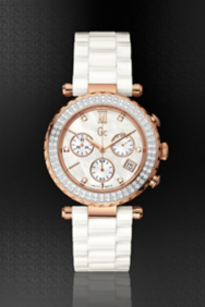 Gc Diver Chic Diamond Bezel White Ceramic Timepiece