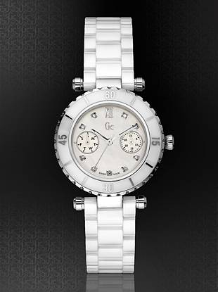 Gc Swiss Watches - GC DIVER CHIC Diamond Dial White Ceramic Timepiece