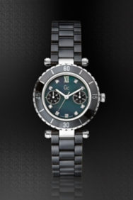Gc DIVER CHIC Diamond Dial Black Ceramic Timepiece