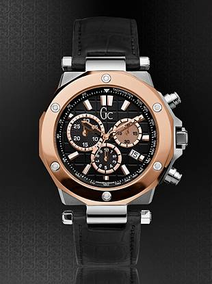 The Gc 3 is a bold chronograph that will make any man stand out in a crowd.  It has the design elements of the Gc series and features a 12 faceted bezel with 6 visible stud details. A 316L stainless steel case is complimented with a rose gold PVD bezel and black dial with rose gold indices. The strap is a croco embossed black leather.    Stainless steel case   Croco embossed black leather strap    43mm  Screw down crown with embossed Gc logo   Push button deployment clasp   Water resistant to 100 meters   Luxury Gc gift box packaging included   Sapphire Crystal   10 year limited war