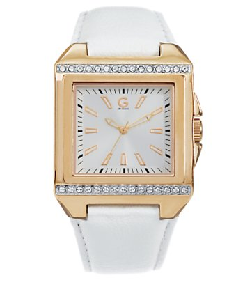 G by GUESS - Square Sport Rose Gold and White Strap Watch :  rosegold rose gold watch watch rose gold