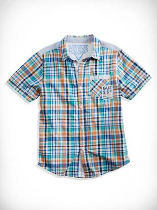 Guesskids Big Boy Sunset Plaid Shirt (8-20)