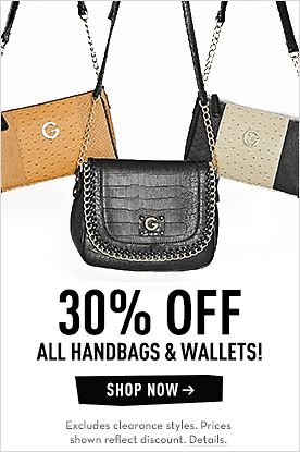 30% OFF ALL HANDBAGS & WALLETS!