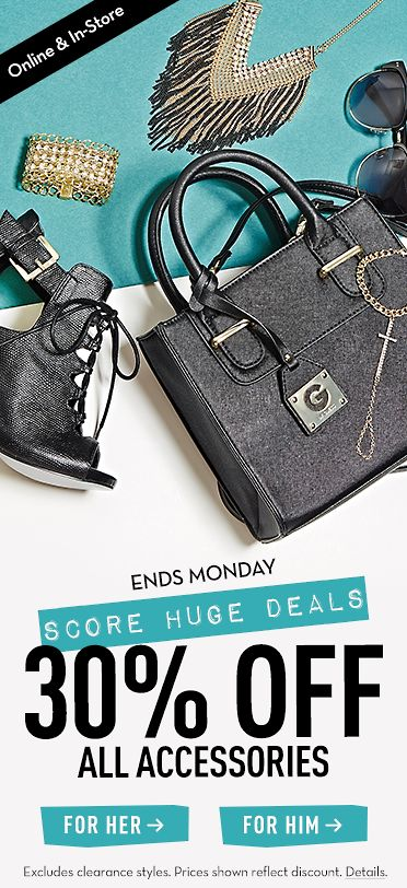 ENDS MONDAY - SCORE HUGE DEALS 30% OFF ALL ACCESSORIES