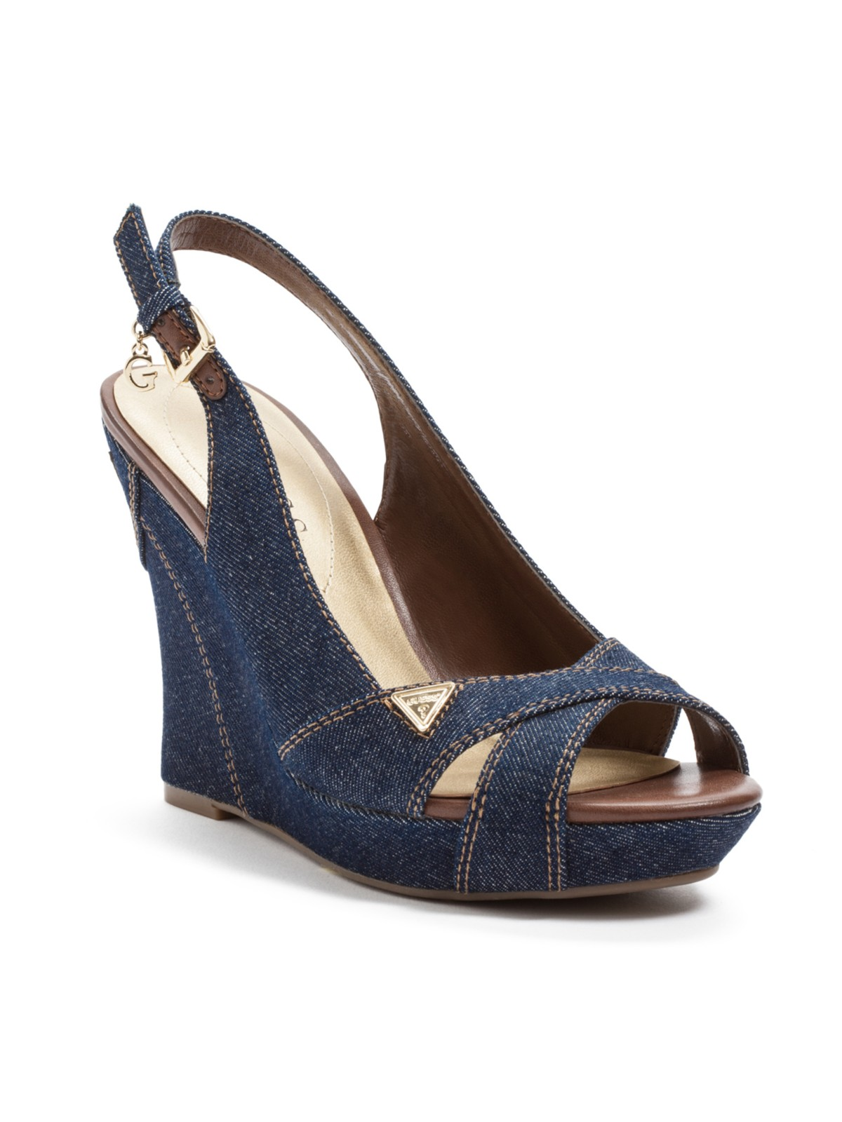 guess tilden denim wedge sandals ebay