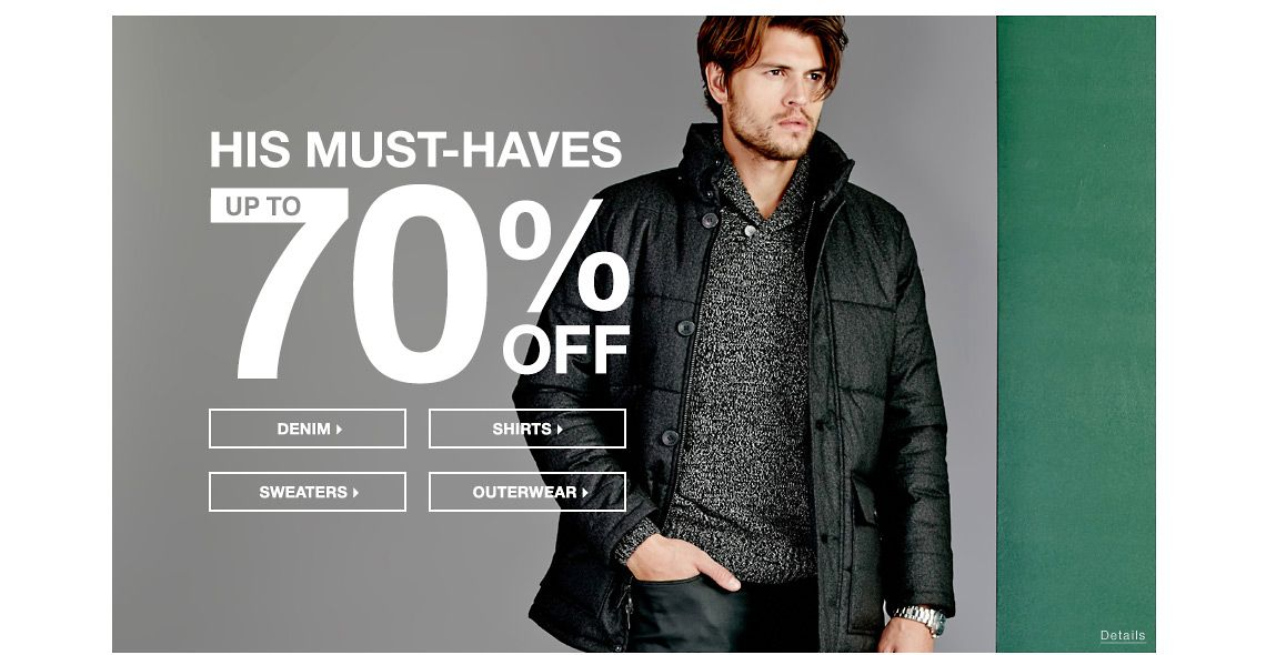 Up To 70% Off His Must-Haves