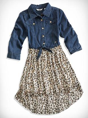 Big Girl Metallic Leopard Two-Fer Dress (7-16)