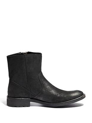 """Sleek and understated, these boots are a season must-have for every guy. Distressed leather and a double metal zipper bring rugged edge to the western-inspired style. Wear them casually with jeans during the day and when you head out after dark—you'll wear them everywhere.       • Rounded-toe boots • Distressed leather upper with double metal zipper • Zipper closure at outer ankle. Rubber sole. • 1 ½"""" heel • 6 ¾"""" shaft height • Material: Leather"""