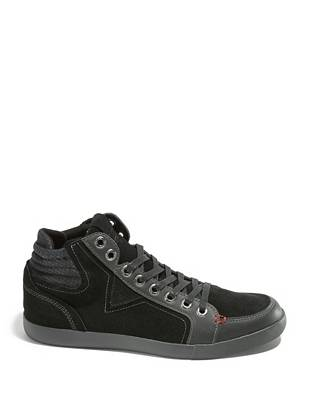 Upgrade your wear-anywhere sneakers with this modern, versatile pair.  The laid-back look of suede keeps your style on-trend while padded backing cradles your ankle with all-day comfort.      • Suede sneakers with contrast trim. Lace-up vamp. • Padded backing with houndstooth print • Materials: Suede, Fabric