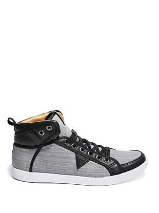 Now you can wear your favorite jeans from head to toe, thanks to these trend-perfect high-top sneakers. Leather accents bring out the contrasting denim, making them a must for the guy with iconic style.