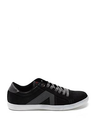 Get a casual-cool look with these comfortable sneakers. Slip them on with your everyday jeans and an ultrasoft tee for laid-back style.     • Closed-toe sneaker • Logo patch on tongue. Faux-suede detail on outer side.  • Lace-up vamp • Material: Synthetic