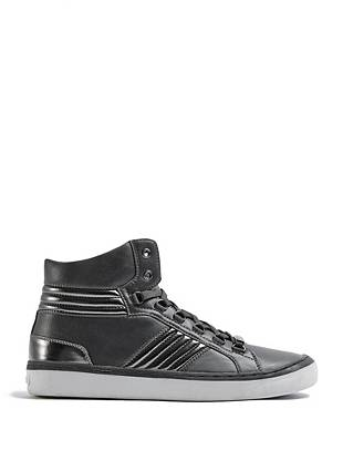 High-shine quilted details give these high-top sneakers a modern, forward-thinking look.