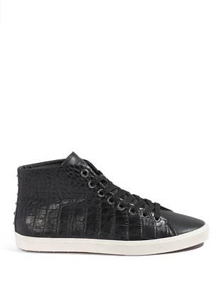 Give off-duty looks a dose of upscale style with these expertly crafted high-tops. A crocodile-embossed finish and understated stud detail make a casual statement that's sure to get noticed. •High-top sneakers •Crocodile-embossed upper with stud detail at back. Lace-up vamp. •Rubber sole •Materials: Leather, Rubber