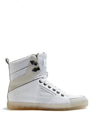 Modern color-blocking and metallic trim make these high-top sneakers an essential for the trend-conscious guy.