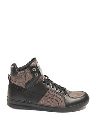 Sleek leather and metallic python print team up to create the ultimate high-top sneakers that take your casual looks to a whole new level.