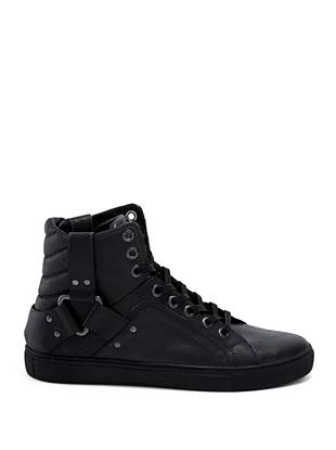 Smooth faux leather gives these athletic-inspired high tops a polished, versatile look.