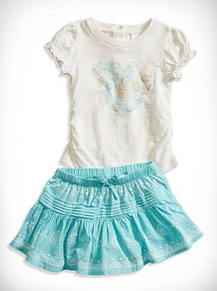 Guesskids Baby Girl Paisley Heart Tee and Pintucked Skirt Set (12-24M)