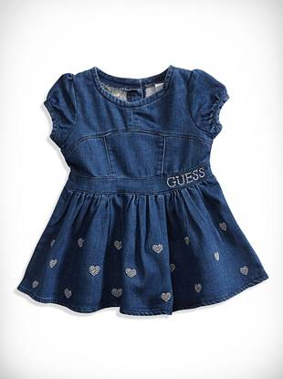 Guesskids Newborn Girl Embroidered Knit Denim Dress (0-9M)