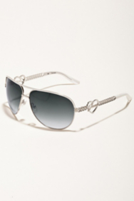 Monica Heart and Script Logo Aviator Sunglasses