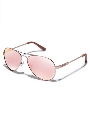 Master the mirrored lens trend in sexy summer style with these high-shine aviator sunglasses. Available in goes-with-everything golden shades, they make the perfect addition to your warm-weather wardrobe.