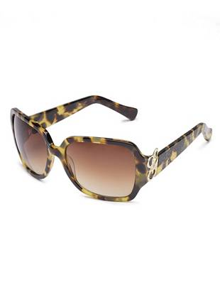 Fashion a totally chic finish to every look with these perfectly detailed sunglasses. The laser-engraved animal print gives this pair an extra-sexy edge. •	Rectangular plastic frames. Script logo detail and laser-engraved animal print at temples.  •	Ideal for oval, square and heart-shaped faces •	Polycarbonate lens •	100% UVA and UVB protection •	Excellent impact resistance. Scratch resistant. •	Includes signature case •	Two year limited warranty