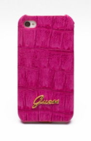 Crocodile-Embossed Faux Leather Phone Case – Pink