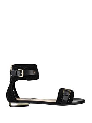 Master spring street-style with these ultra-modern perforated sandals. Gleaming metal accents and genuine leather straps lend low-key glamour to this trend-perfect pair.