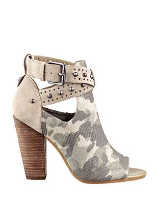 Metallic camouflage mixes with super-soft suede to create these high-fashion booties. Slip them on day or night for sexy, military-inspired style.