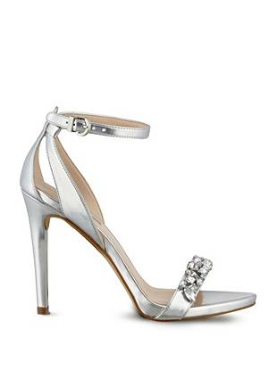 Catarina Metallic Jeweled Heels