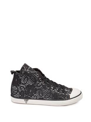 Allover lace trim puts a so-chic spin on the season's irresistible high-top trend. Sexy yet rebellious, this shimmering pair is a definite step up from ordinary tennis shoes. •High-top sneakers. Lace-up vamp. •Allover lace overlay. Logo embroidery at tongue with rhinestone detail. Reinforced cap toe.  •Materials: Fabric, Rubber
