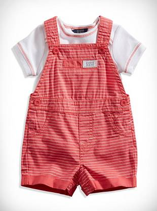 Guesskids Newborn Boy Striped Shortalls and Tee Set (0-9M)