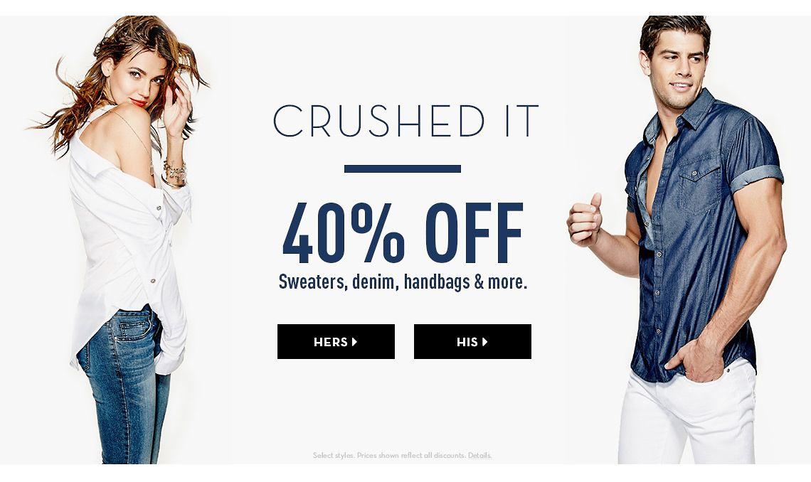 40% Off Sweaters, denim, handbags & more