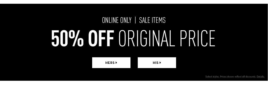 Online Only Sale Items 50% Off Original Price
