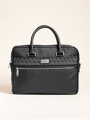 """Ideal for work days or travel days, this all-in-one bag carries your laptop, books and everything else you need. Carry it with confidence knowing it also complements your polished style.  •Nylon exterior with faux-leather trim. Silver-tone hardware.  •Front silver-tone logo plaque. Front panel features contrasting 4-G logo pattern with faux-leather trim. Two main compartments with zipper closures.  •Interior features a zipper pocket and cell phone pocket. Additional exterior zipper pocket at front.  •Dual top handles. Adjustable shoulder strap.  •Nylon lining  •15 ¼""""W x 13 ½""""H x 4"""