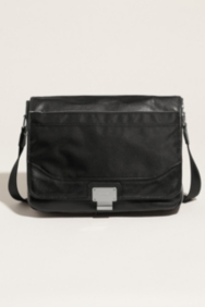 Never Without Leather and Nylon Messenger Bag