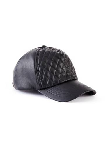 Quilted Faux-Leather Baseball Cap