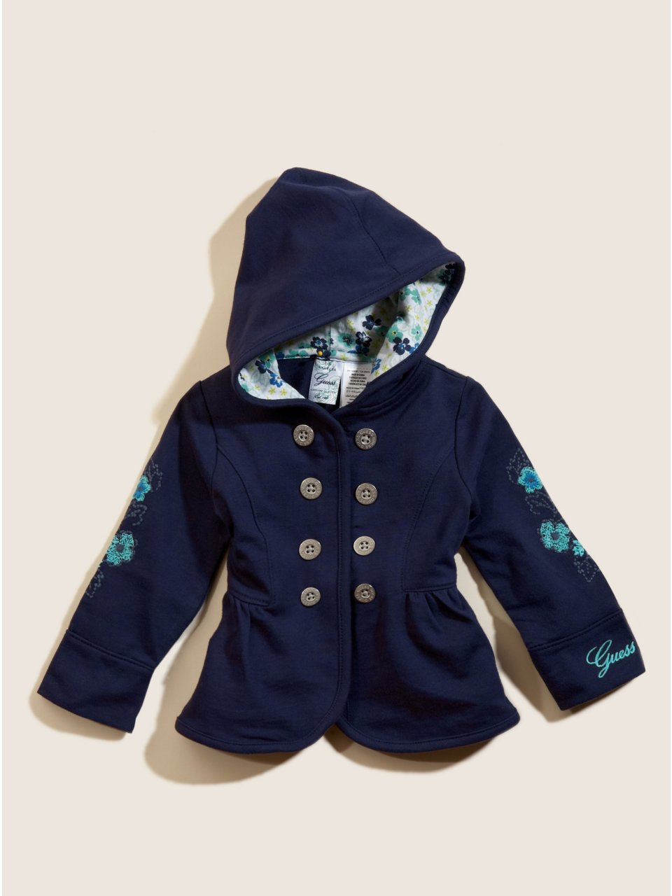 GUESS Kids Girls Embroidered Peplum Hoodie, BLUE (24M)